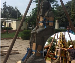 يعرضان بحديقة المسلة منذ 58 عاما.. نقل تمثالى رمسيس الثانى وحورس للمتحف الكبير