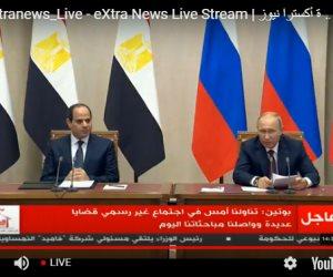 """خلال المؤتمر الصحفي المشترك.. هذا ما قاله """"بوتين"""" حول التعاون الاقتصادي مع مصر"""