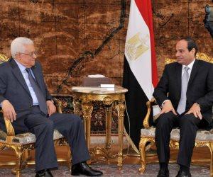 السيسي لأبو مازن: مصر ستواصل جهودها لتحقيق المصالحة الفلسطينية