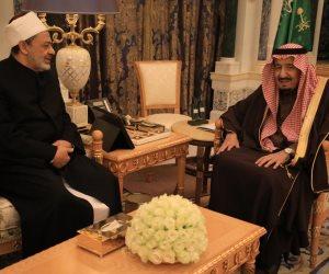 خادم الحرمين الشريفين يلتقي الإمام الأكبر.. مؤكدا تقديره لجهوده في نشر الفكر الوسطي
