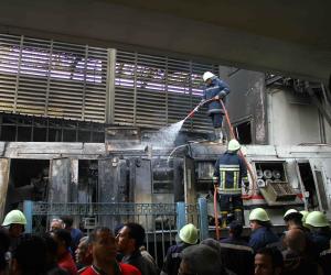 أول فيديو للحظة احتراق قطار حادث محطة مصر