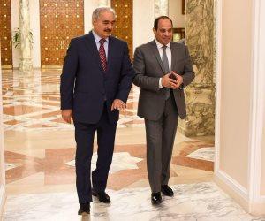 الرئيس السيسي يستقبل «حفتر» ويؤكد على دور المؤسسة العسكرية الليبية لاستعادة مقومات الشرعية
