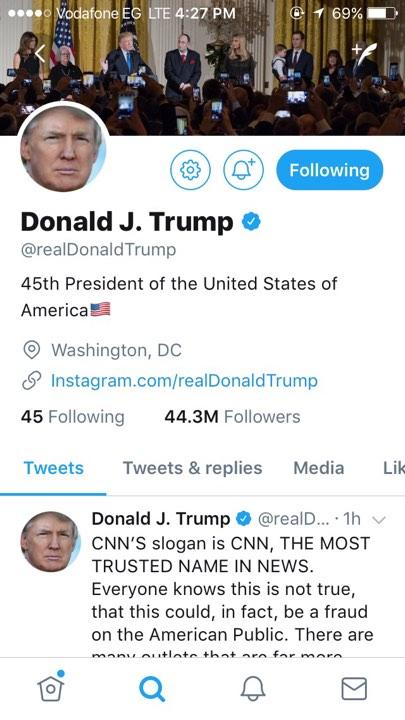 صفحة الرئيس  ترامب
