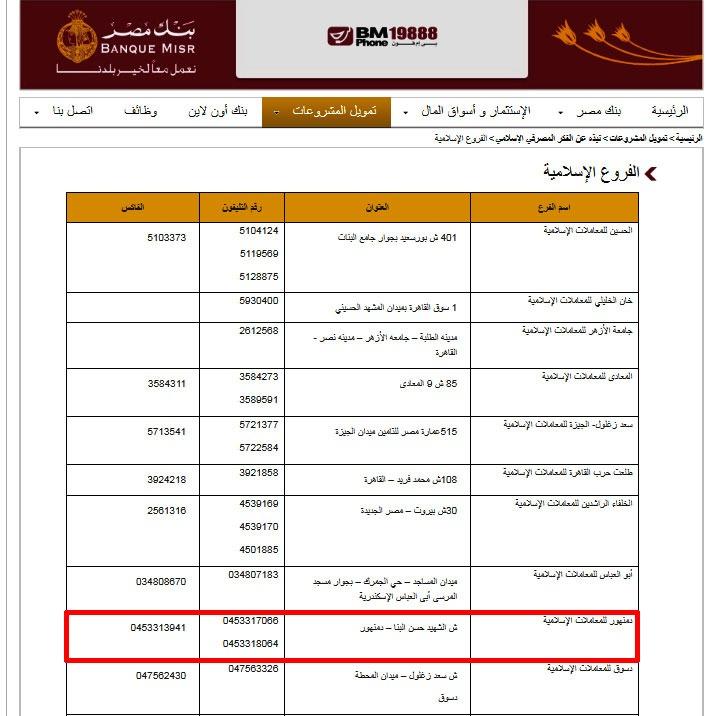 عنوان فرع بنك مصر في دمنهور من الموقع الرسمي للبنك