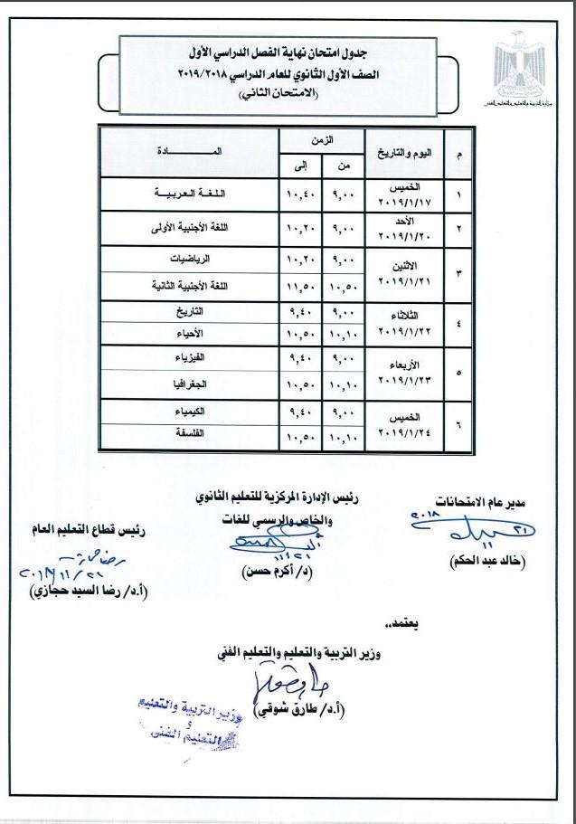 الامتحان الثاني للصف الأول الثانوي