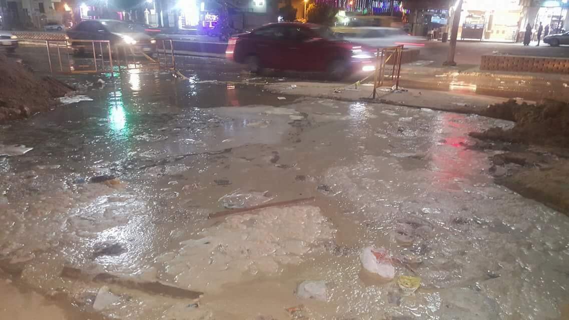 انفجار خط المياه المغذى لمدينة المحلة (3)