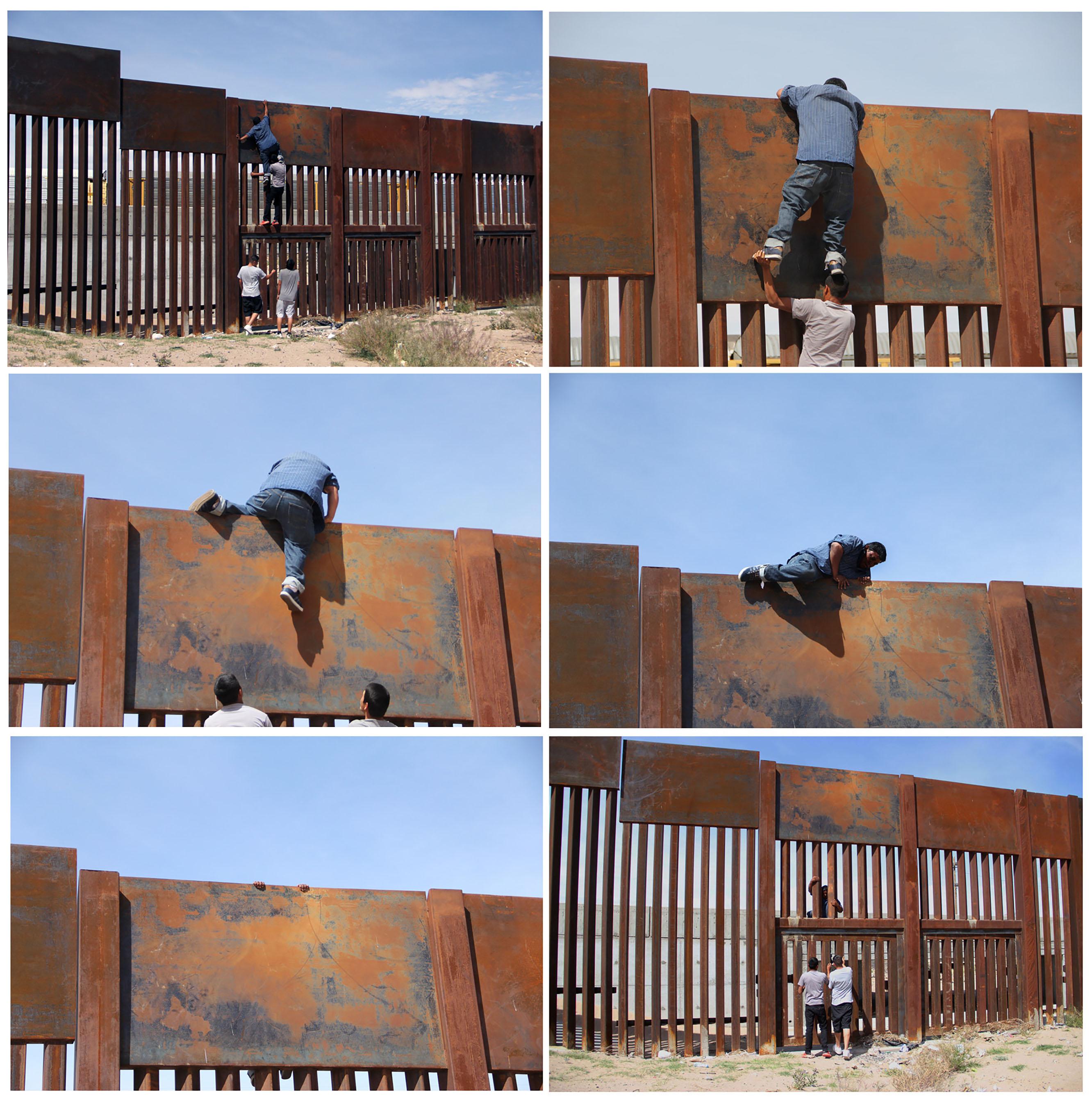 نجاح عبور أحد المهاجرين فى اجتياز الجدار الحدودى