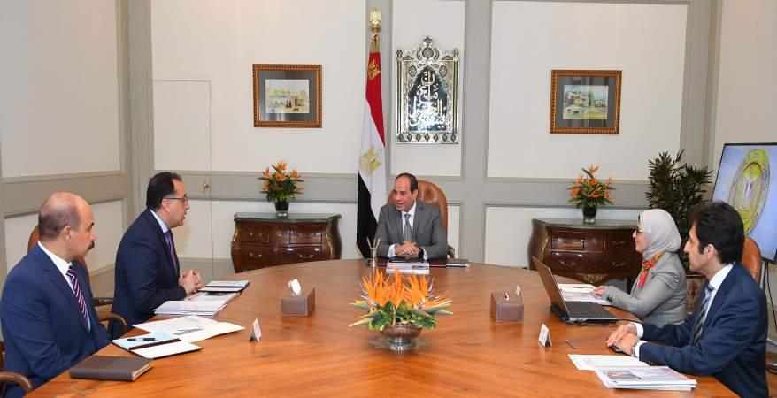 الرئيس يجتمع برئيس الوزراء ووزيرة الصحة