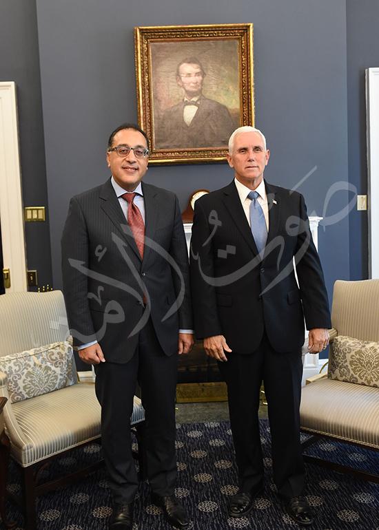 مصطفى مدبولى رئيس الوزراء مع مايك بنس نائب الرئيس الأمريكى (4)