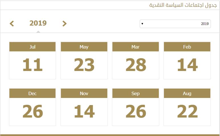 جدول اجتماعات لجنة السياسة النقدية