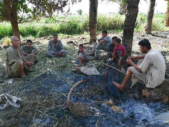مجموعة من المزارعين فى العشش بعد الحريق