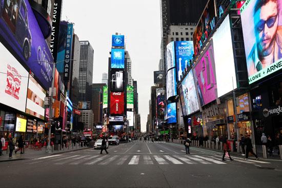 شوارع نيويورك مهجورة بسبب كورونا