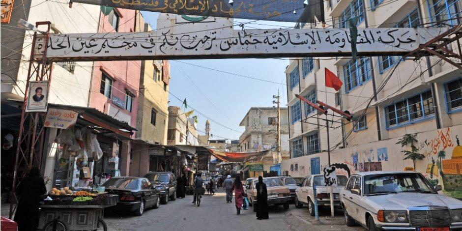 هدوء في مخيم عين الحلوة للاجئين الفلسطينيين في لبنان