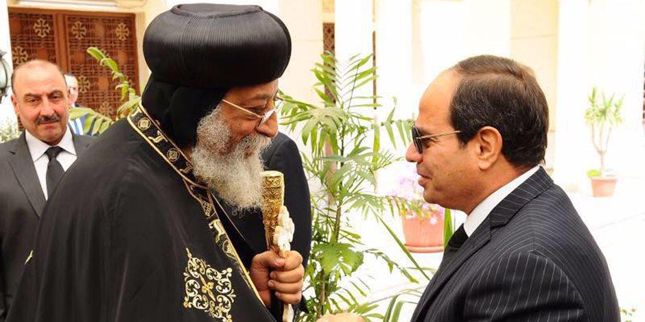 عبر الهاتف.. الرئيس السيسي يطمئن على البابا تواضروس الثاني