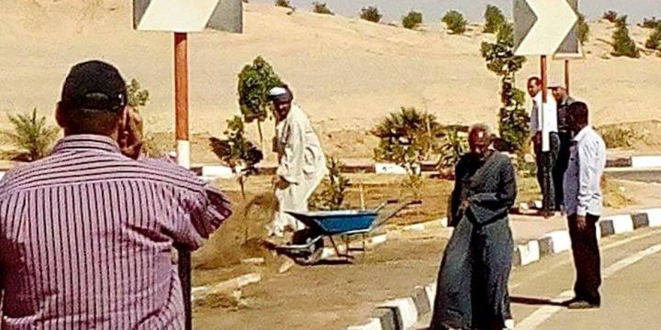أيمن عبد المنعم : البدء في أعمال تشجير طريق مطار سوهاج الدولي