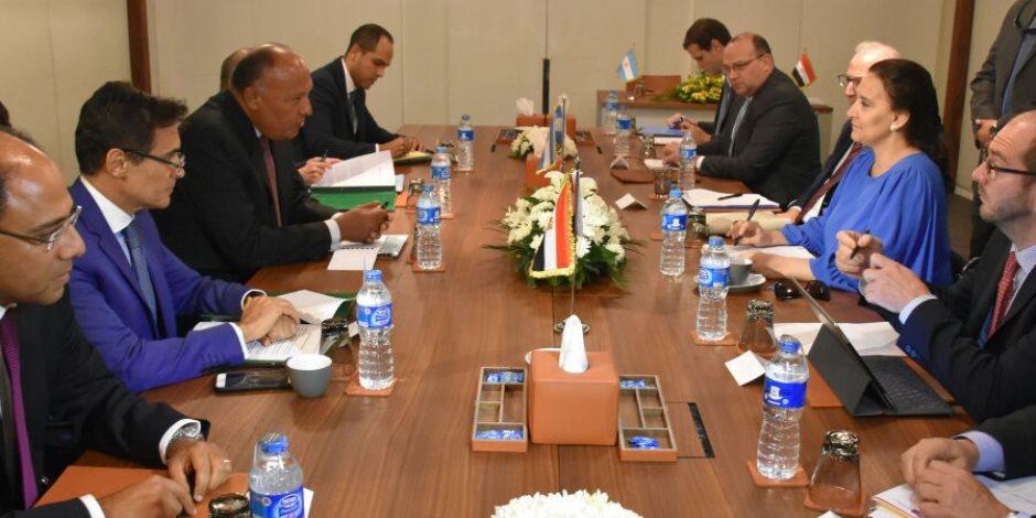 سامح شكري يبحث مع نائبة رئيس الأرجنتين تعزيز التعاون الاقتصادي