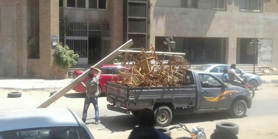 حملة على الأكشاك المخالفة بشارع النيل بحي جنوب الجيزة