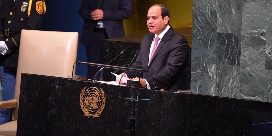 الرئيس السيسي يشيد بجهود الأمين العام للأمم المتحدة في حفظ السلام