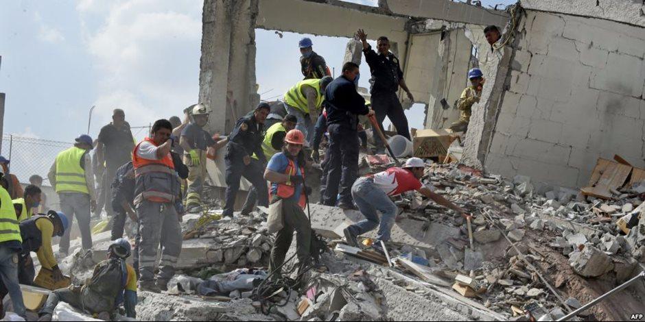 استمرار عمليات البحث عن ناجين تحت الأنقاض بعد زلزال المكسيك