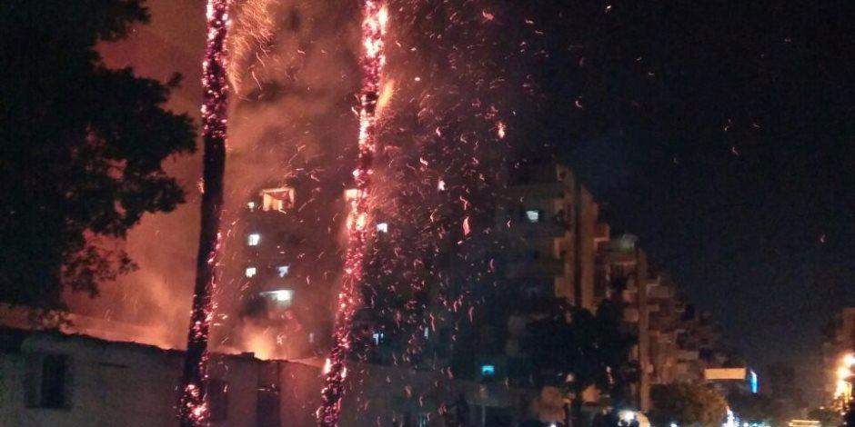 الدفع بـ10سيارات اطفاء للسيطرة على حريق محول كهرباء الشيخ زايد