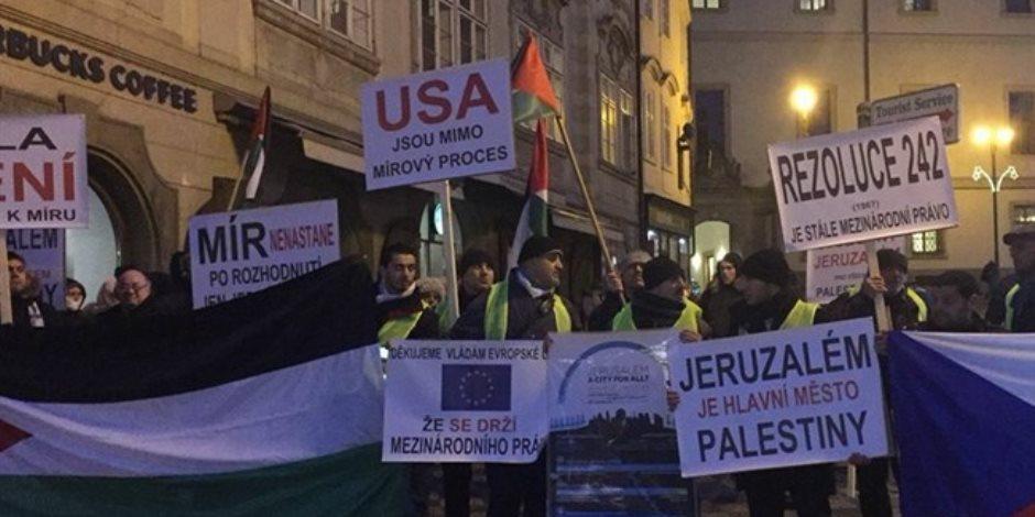 تظاهرة أمام السفارة الأمريكية فى العاصمة التشيكية اعتراضا على قرار القدس
