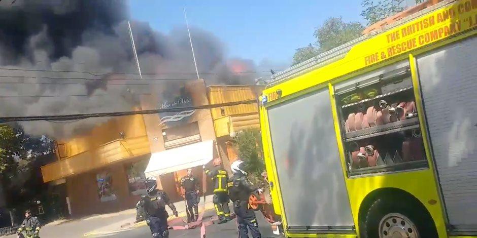 نشوب حريق هائل داخل مطعم في تشيلي.. والحماية المدنية تحاول إخماد النيران (صور)