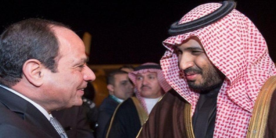 الرئيس السيسي يستقبل ولي العهد السعودي بمطار القاهرة