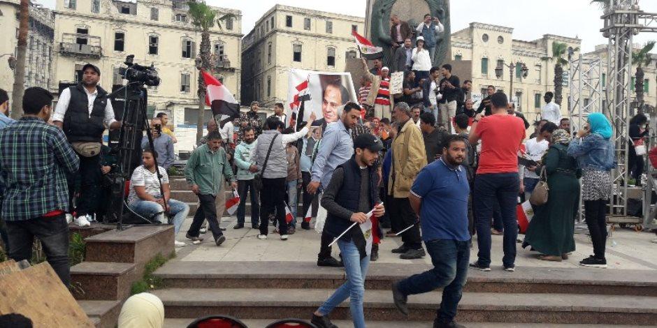 ميدان الشهيد هشام بركات الشاهد على فرحة المصريين بفوز السيسي (فيديو)