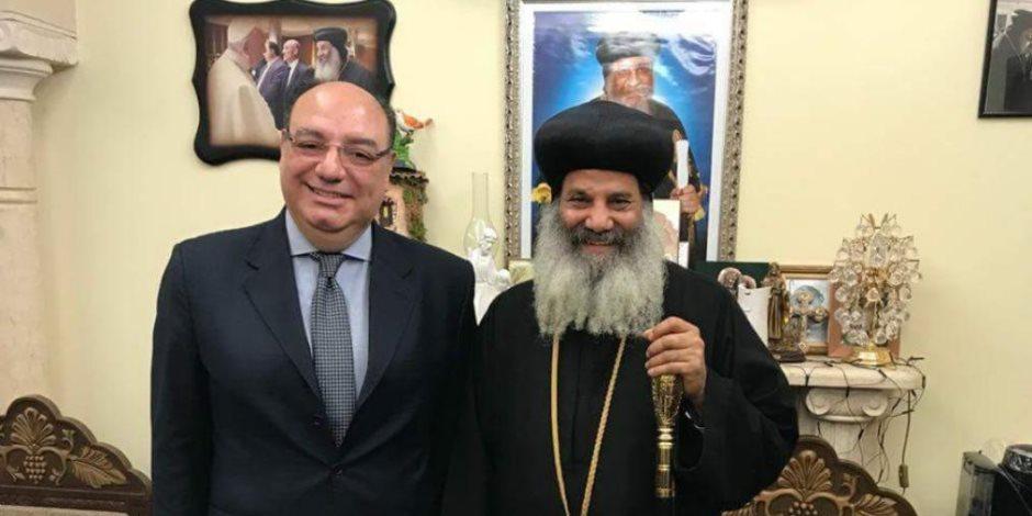 سفير مصر  بالفاتيكان يهنئ أسقف تورينو بعيد القيامة بمطرانية روما