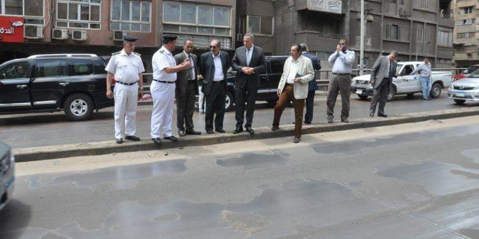 منعا لانزلاق السيارات.. تغيير طبقة الأيبوكس بكوبري الدقى وإصلاحات لمدة 15 يوما  (صور)
