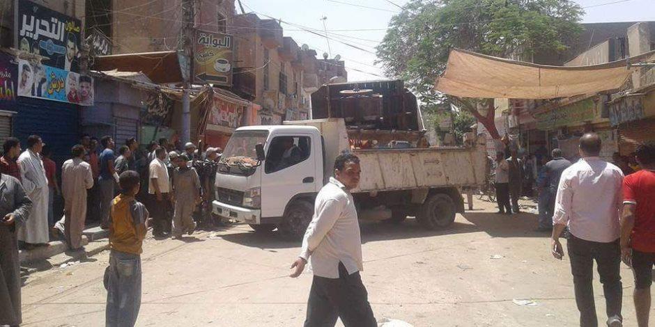 إزالة 542 حالة تعد واشغالات بشوارع مدينة ببا فى بنى سويف