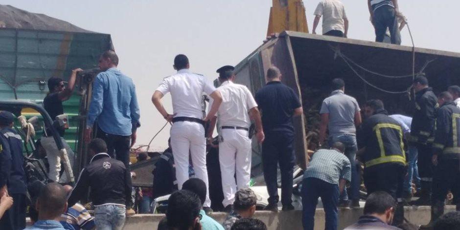 إصابة 19 مجندا إثر انقلاب سيارة أمن مركزى في طريق الواحات الصحراوي