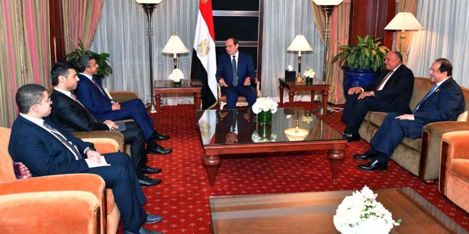 السيسى لعبد الله بن زايد: نعتز بالشراكة الاستراتيجية مع الإمارات (صور)
