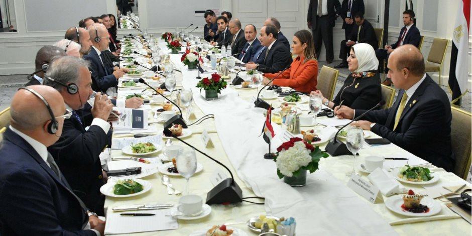 السيسي لمجلس الأعمال الأمريكي: نركز على تعزيز الاستثمار في تعليم وصحة الإنسان المصري