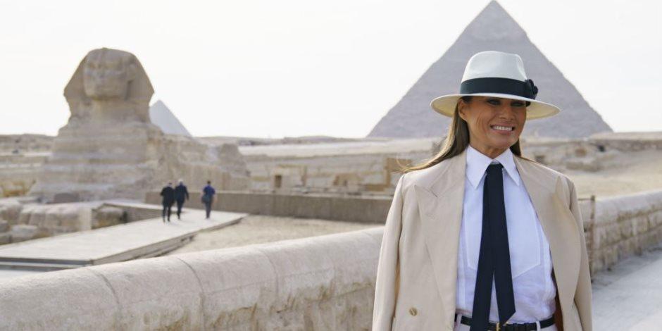 """""""شكرا مصر"""".. ميلانيا ترامب توجه التحية للسيسي وقرينته على حسن استقبالها (صور)"""