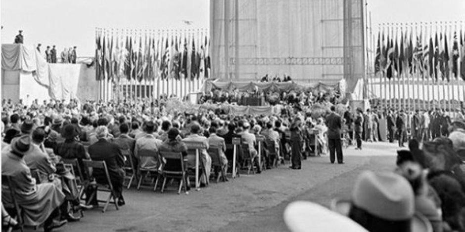 يوم وضع حجر الأساس للمبنى.. قصة صورة نشرها حساب الأمم المتحدة على إنستجرام