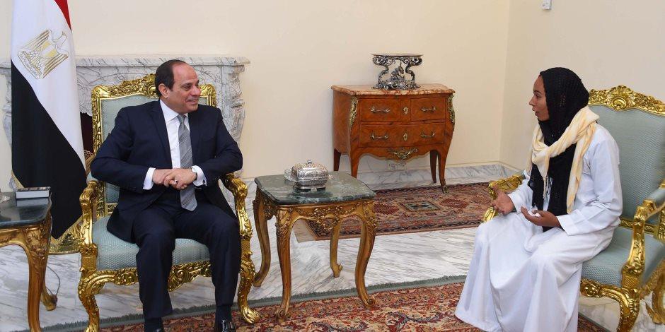 الرئيس السيسي يستقبل مروة العبد:  تعتبر نموذجا مشرفا لشباب مصر