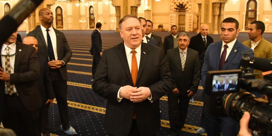 أبرز اللقطات من زيارة وزير الخارجية الأمريكي إلى مسجد الفتاح العليم وكاتدرائية العاصمة الإدارية