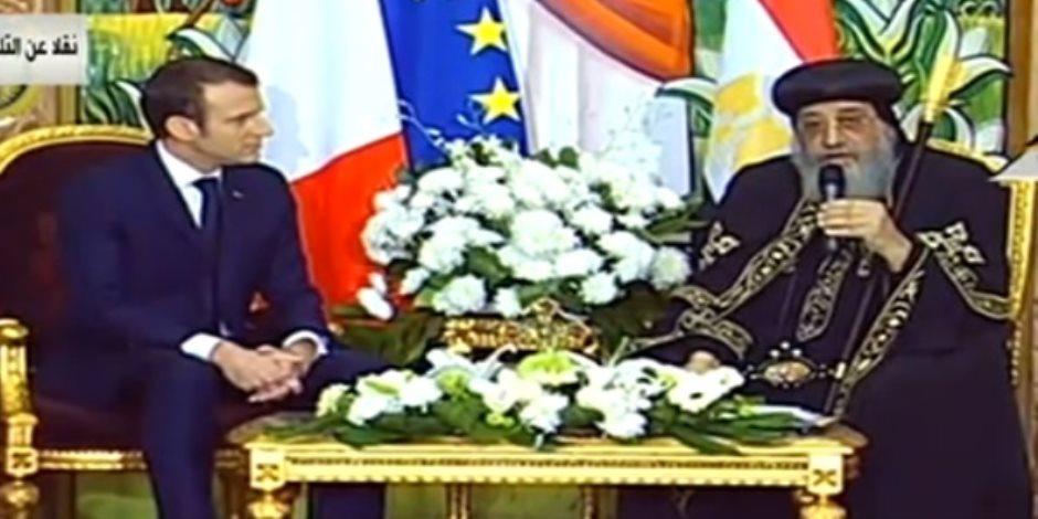 ماكرون للبابا تواضروس: التعددية فى مصر عنصر أساسى للسلام