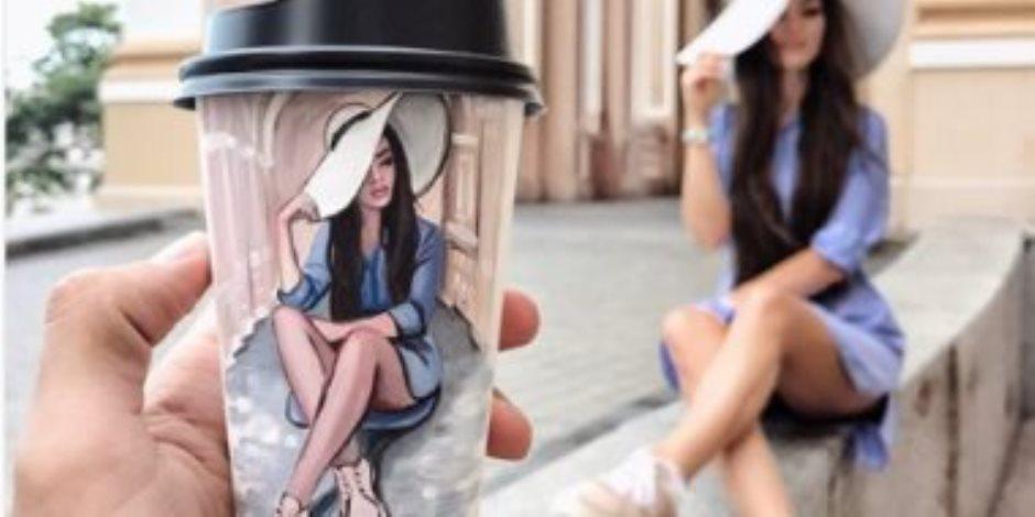 شاهد.. أكواب القهوة تتحول إلى رسومات عالمية (صور)