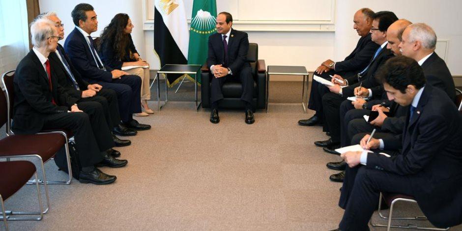 السيسى يلتقى رئيس جامعة هيروشيما.. ويؤكد اهتمام مصر بتطوير التعليم العالى