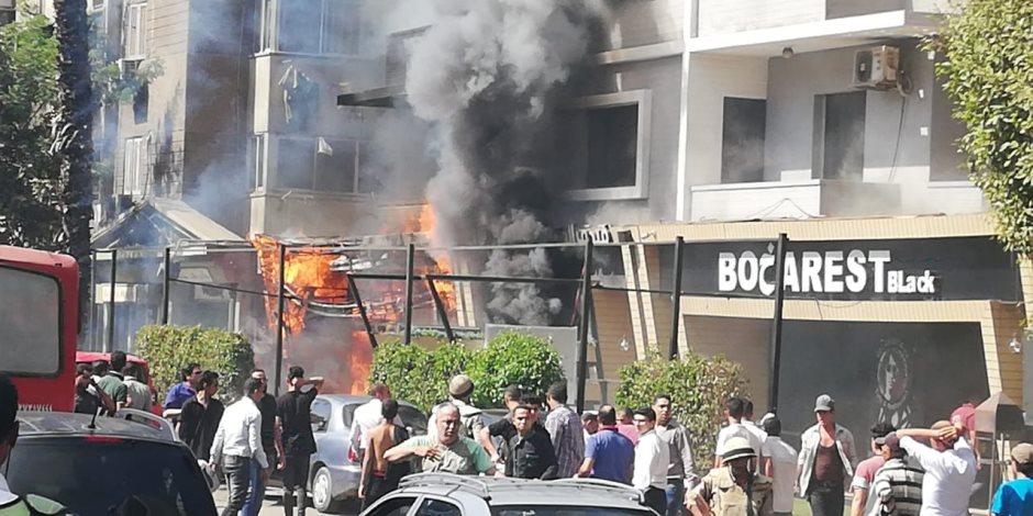 صور .. حريق فى فندق بالدقى والحماية المدنية تحاول السيطرة عليه