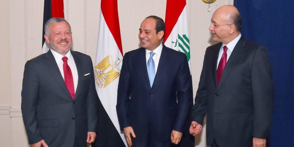 قادة مصر والأردن والعراق يؤكدون دعمهم للحل السياسي الشامل للقضية الفلسطينية