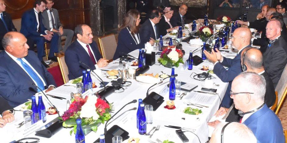السيسى يشيد بالتطورات الإيجابية فى العلاقات الاقتصادية والتجارية بين مصر وأمريكا