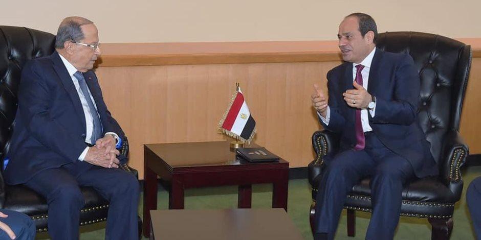 """السيسى يؤكد لـ""""عون"""" الاعتزاز بخصوصية العلاقات الوطيدة بين مصر ولبنان"""