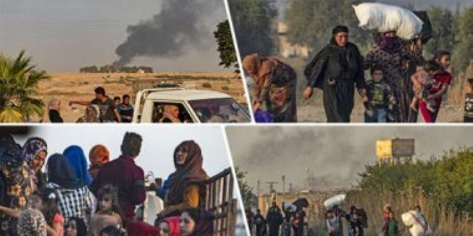 العدوان التركي على شمال سوريا.. مأساة إنسانية ونزوح 300 ألف وتحذيرات أممية