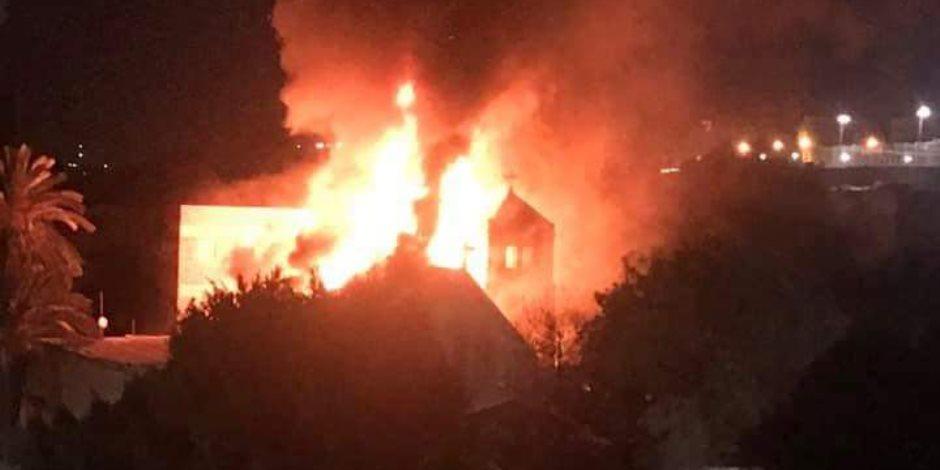 حريق بكنيسة مارجرجس حلوان.. والكاتدرائية: لا خسائر بشرية