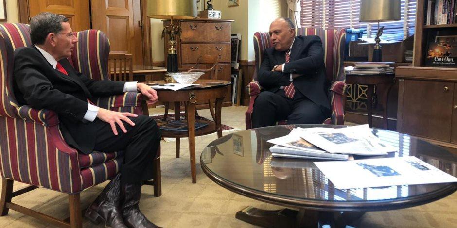 وزير الخارجية يبحث مع أعضاء مجلس الشيوخ الأمريكى آخر تطورات ملف سد النهضة