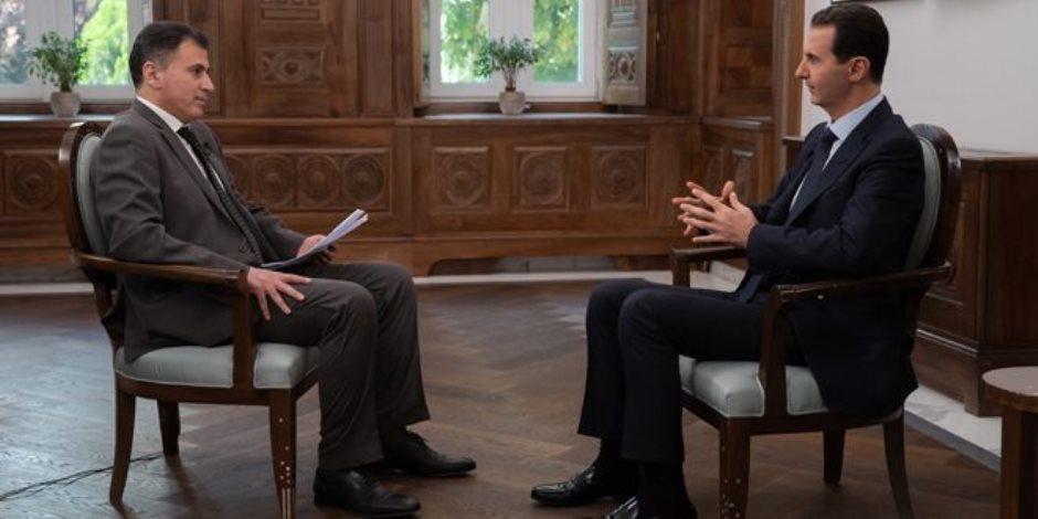 بشار الأسد يتحدث عن علاقات بلاده الدولية وتواطؤ أردوغان والجماعات الخاضعة لأمريكا
