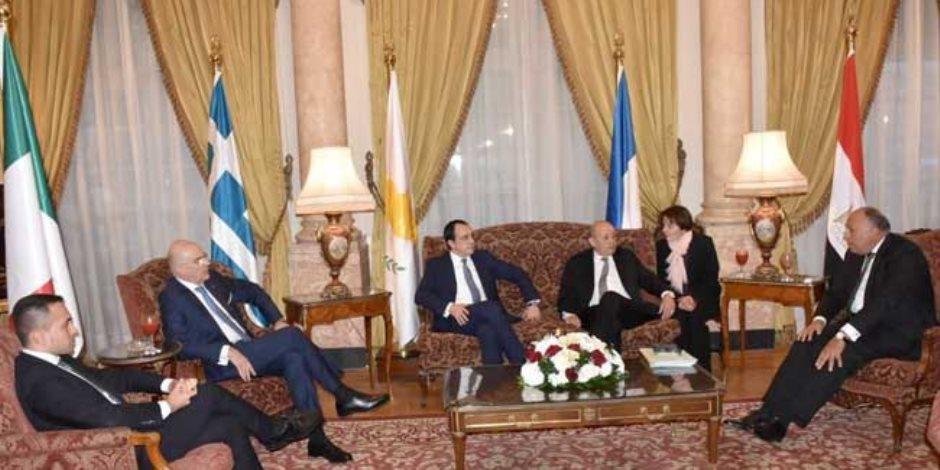 في اجتماع القاهرة.. مصر واليونان وقبرص وفرنسا يحاصرون أردوغان في ليبيا